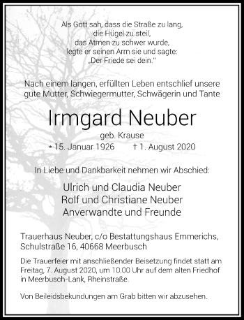 Traueranzeige von Irmgard Neuber von Rheinische Post
