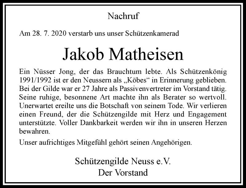 Traueranzeige für Jakob Matheisen vom 07.08.2020 aus Rheinische Post