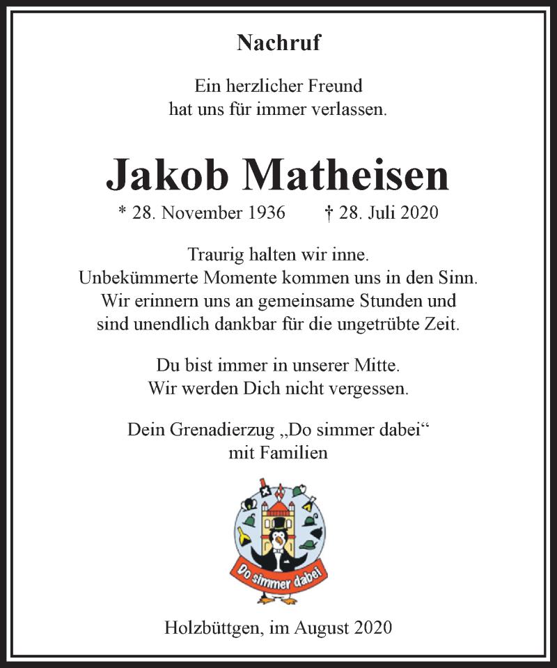Traueranzeige für Jakob Matheisen vom 08.08.2020 aus Rheinische Post