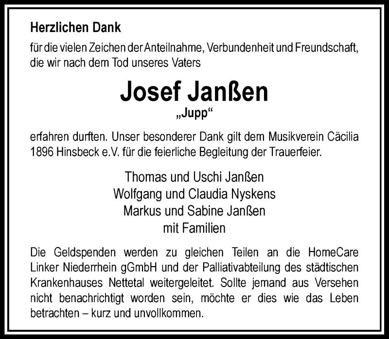 Traueranzeige für Josef Janßen vom 29.08.2020 aus Rheinische Post