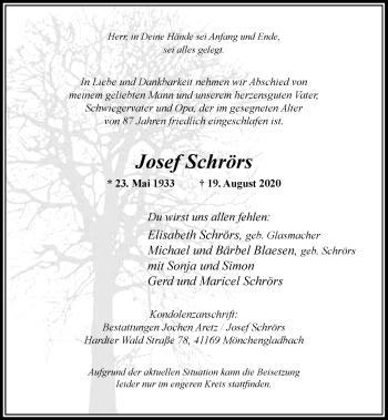 Traueranzeige von Josef Schrörs von Rheinische Post