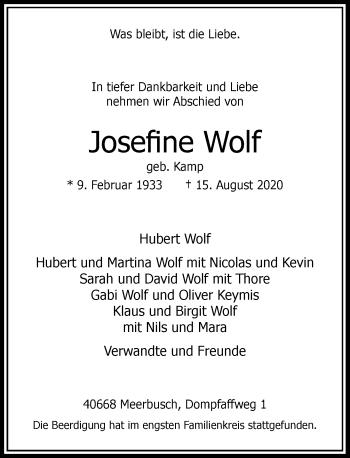 Traueranzeige von Josefine Wolf von Rheinische Post