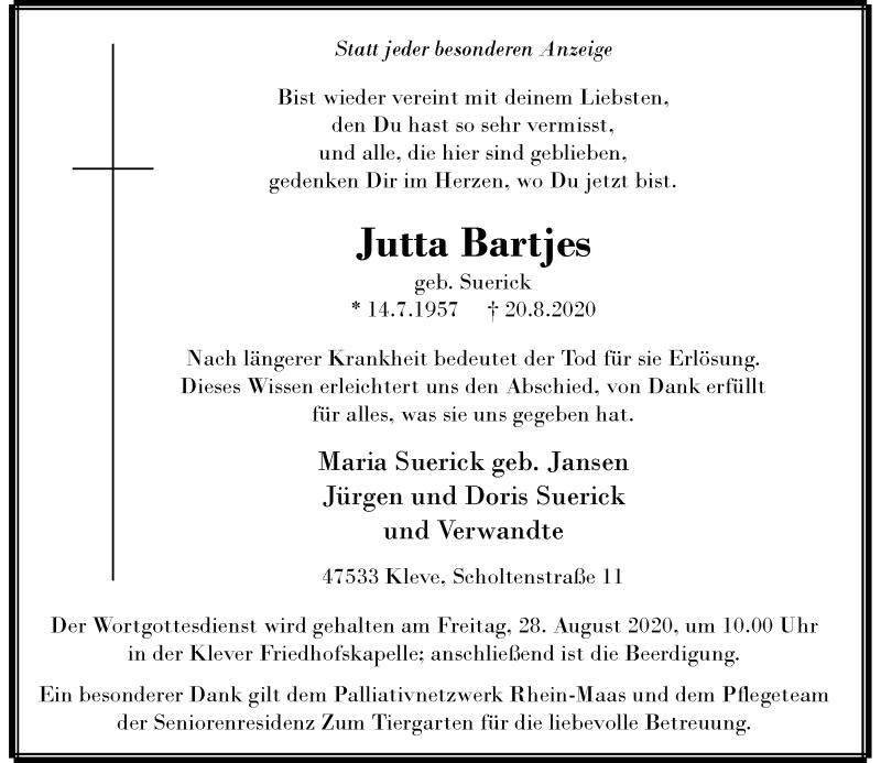 Anzeige von  Jutta Bartfes