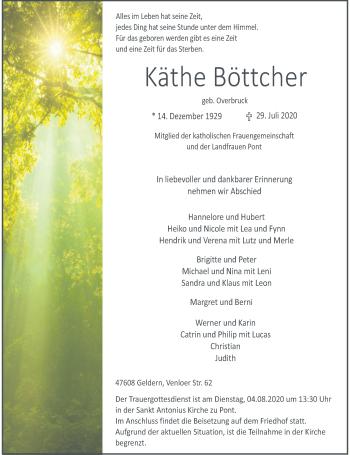 Traueranzeige von Käthe Böttcher von Rheinische Post
