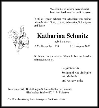 Traueranzeige von Katharina Schmitz von Rheinische Post