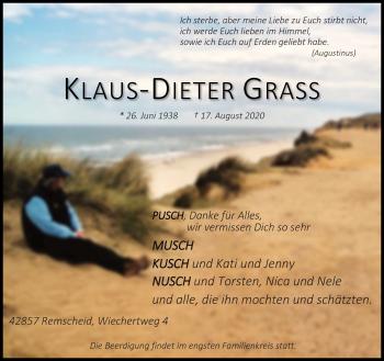 Traueranzeige von Klaus-Dieter Grass von Rheinische Post