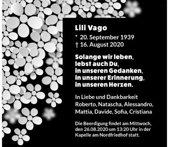 Traueranzeige von Lili Vago von Rheinische Post