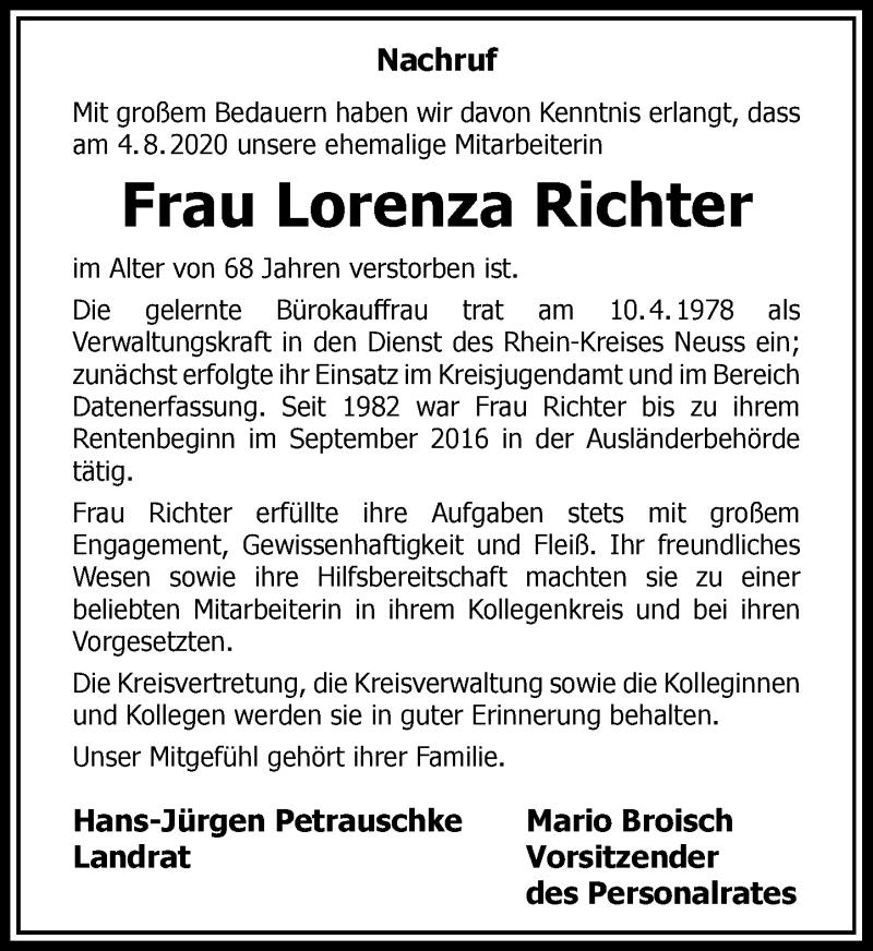 Traueranzeige für Lorenza Richter vom 15.08.2020 aus Rheinische Post