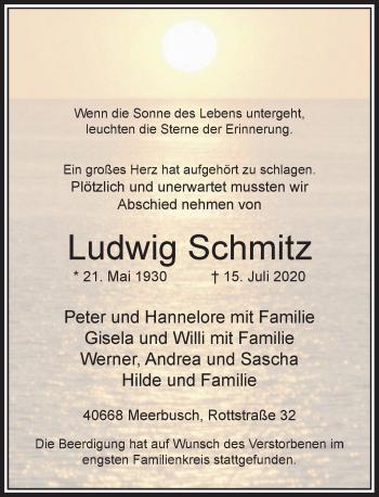 Traueranzeige von Ludwig Schmitz von Rheinische Post