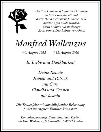Traueranzeige von Manfred Wallenzus von Rheinische Post