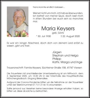 Traueranzeige von Maria Keysers von Rheinische Post