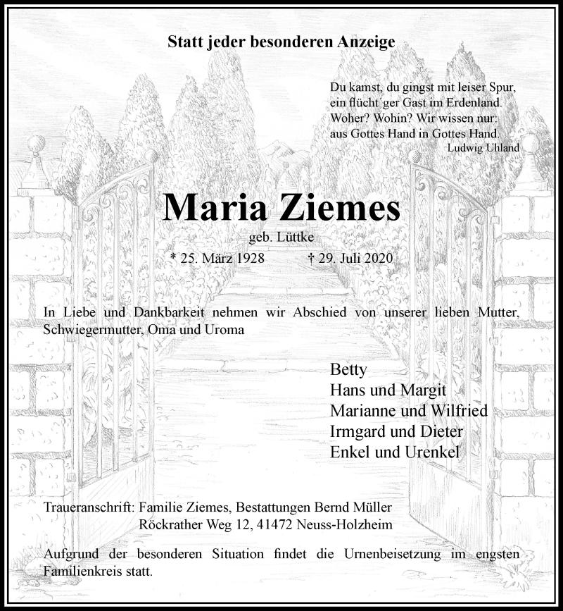 Traueranzeige für Maria Ziemes vom 08.08.2020 aus Rheinische Post
