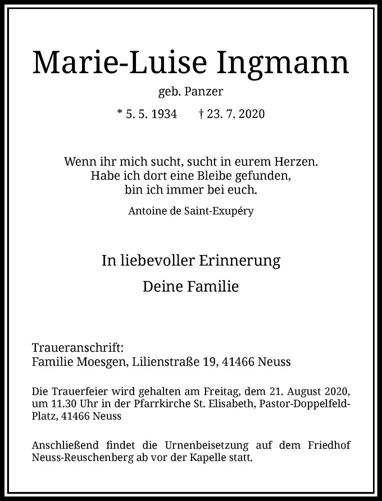 Traueranzeige für Marie-Luise Ingmann vom 08.08.2020 aus Rheinische Post