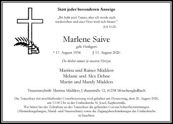 Traueranzeige von Marlene Saive von Rheinische Post
