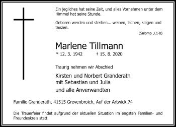 Traueranzeige von Marlene Tillmann von Rheinische Post
