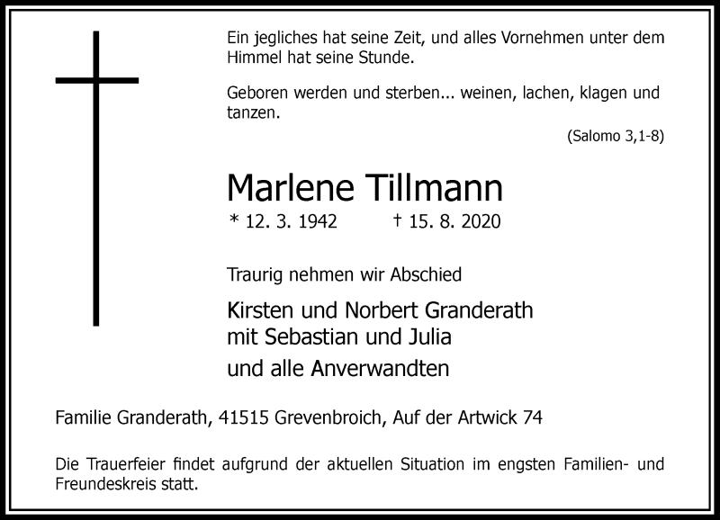 Traueranzeige für Marlene Tillmann vom 22.08.2020 aus Rheinische Post