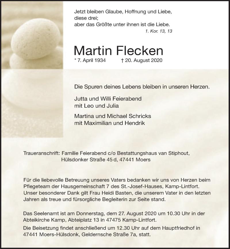 Traueranzeige für Martin Flecken vom 25.08.2020 aus Rheinische Post