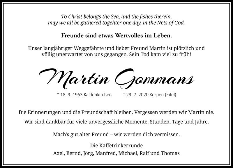 Traueranzeige für Martin Gommans vom 08.08.2020 aus Rheinische Post