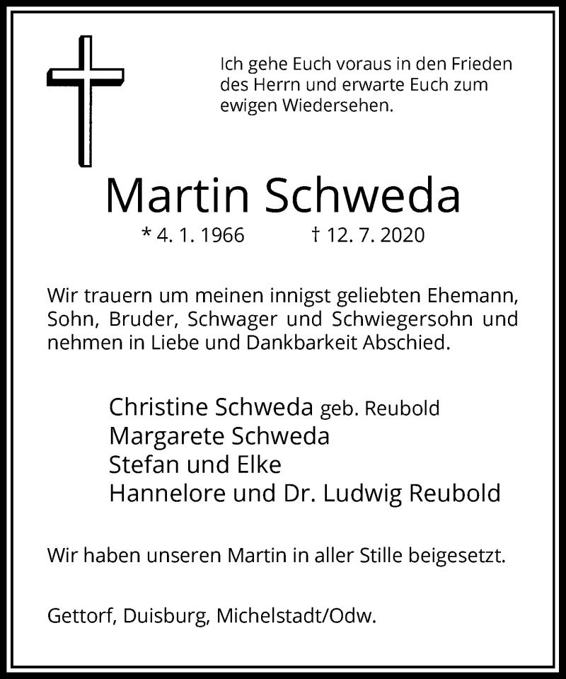 Traueranzeige für Martin Schweda vom 08.08.2020 aus Rheinische Post