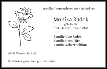 Traueranzeige von Monika Radok von Rheinische Post