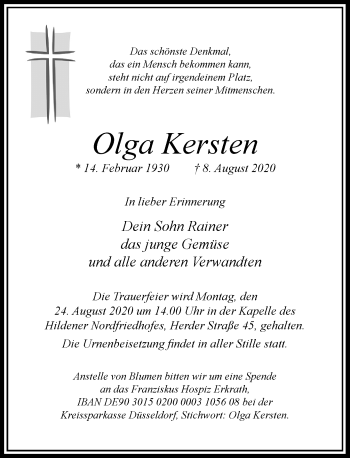 Traueranzeige von Olga Kersten von Rheinische Post