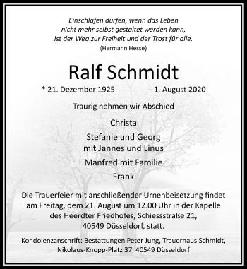 Traueranzeige von Ralf Schmidt von Rheinische Post
