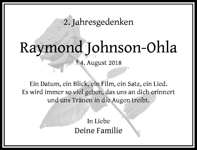 Traueranzeige für Raymond Johnson-Ohla vom 01.08.2020 aus Rheinische Post