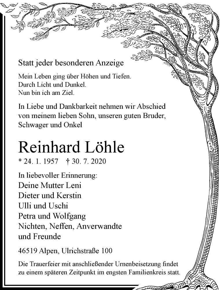 Traueranzeige für Reinhard Löhle vom 01.08.2020 aus Rheinische Post