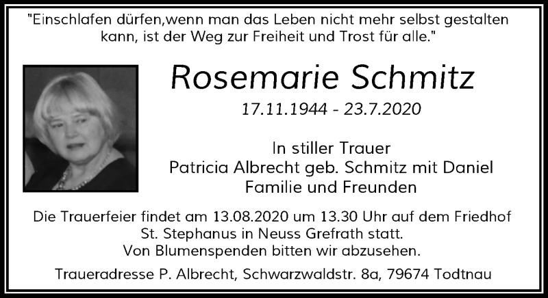Traueranzeige für Rosemarie Schmitz vom 08.08.2020 aus Rheinische Post