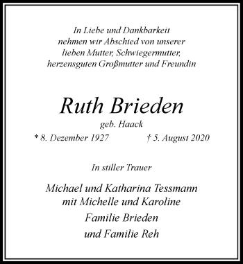 Traueranzeige von Ruth Brieden von Rheinische Post