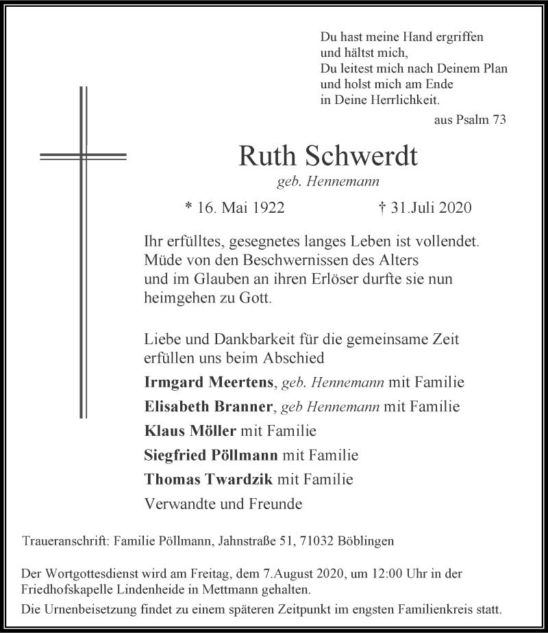 Traueranzeige für Ruth Schwerdt vom 05.08.2020 aus Rheinische Post