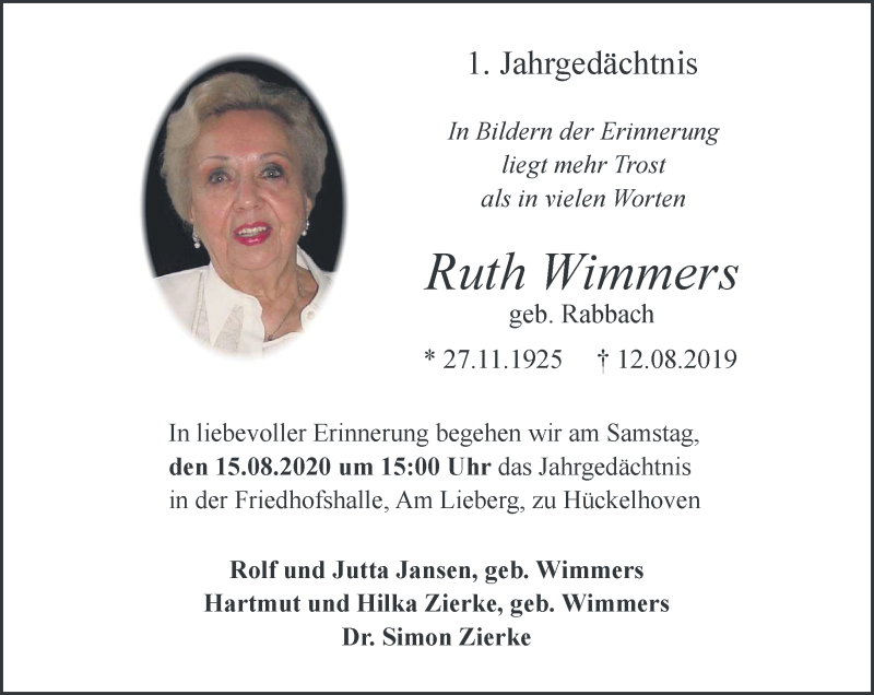 Traueranzeige für Ruth Wimmers vom 12.08.2020 aus Rheinische Post