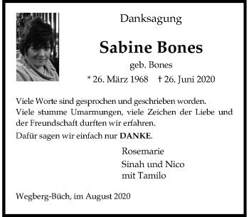Traueranzeige von Sabine Bones von Rheinische Post
