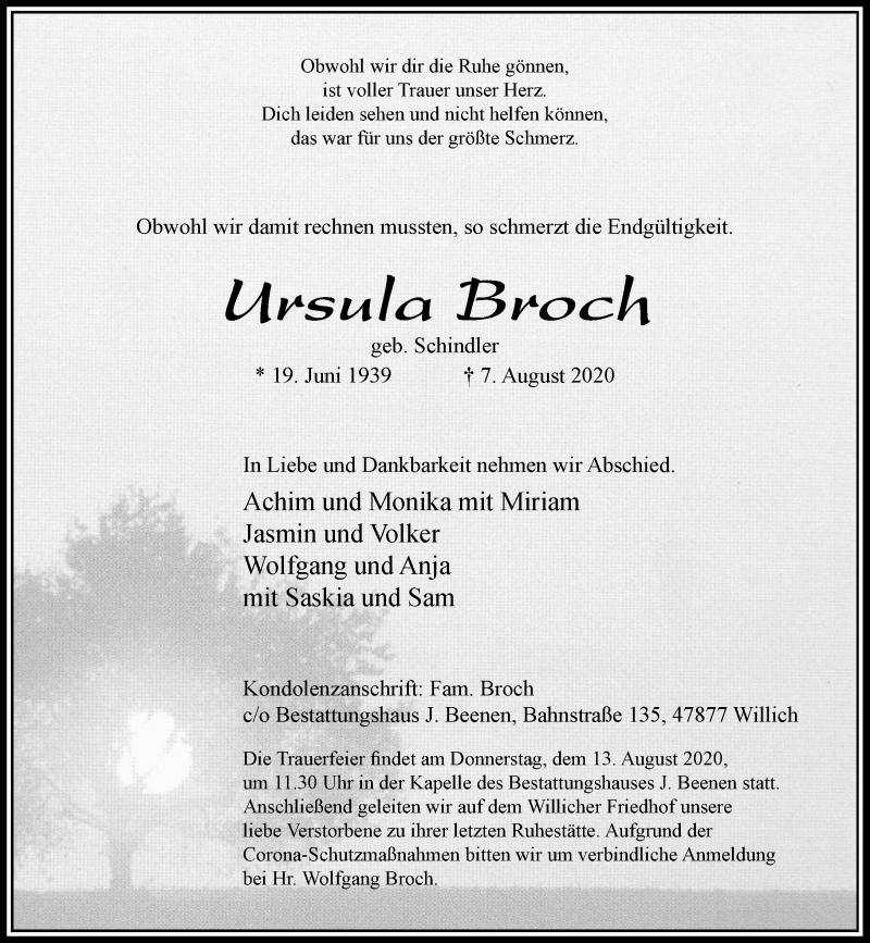 Traueranzeige für Ursula Broch vom 12.08.2020 aus Rheinische Post