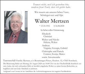 Traueranzeige von Walter Mertzen von Rheinische Post