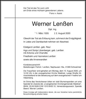 Traueranzeige von Werner Lenßen von Rheinische Post