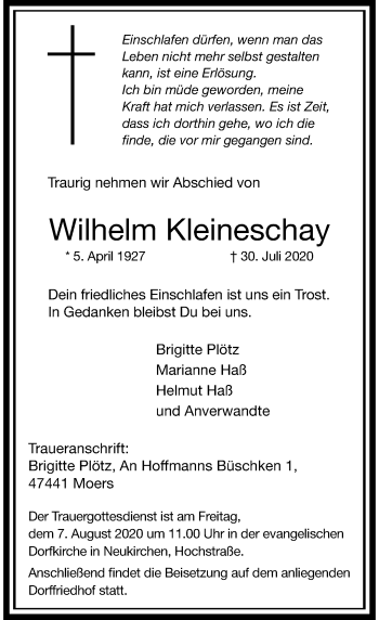 Traueranzeige von Wilhelm Kleineschay von Rheinische Post