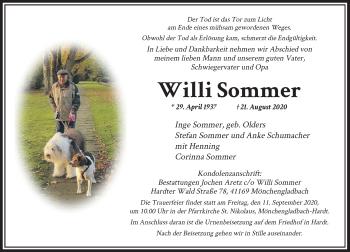 Traueranzeige von Willi Sommer von Rheinische Post
