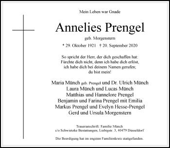 Traueranzeige von Annelies Prengel von Rheinische Post