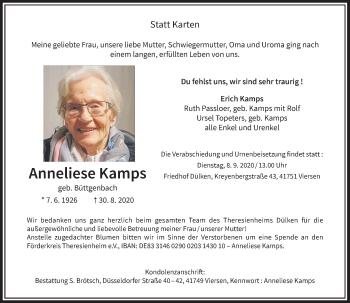 Traueranzeige von Anneliese Kamps von Rheinische Post