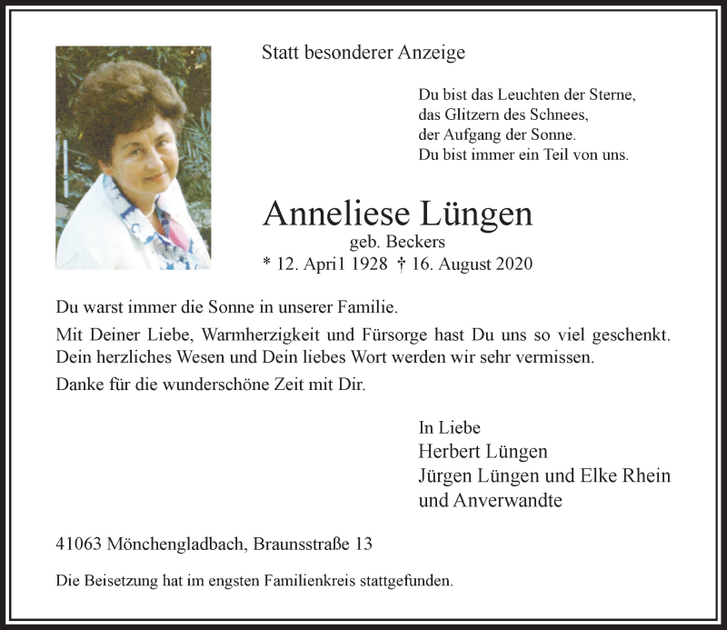 Traueranzeige für Anneliese Lüngen vom 05.09.2020 aus Rheinische Post