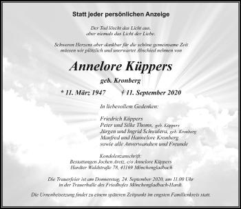 Traueranzeige von Annelore Küppers von Rheinische Post