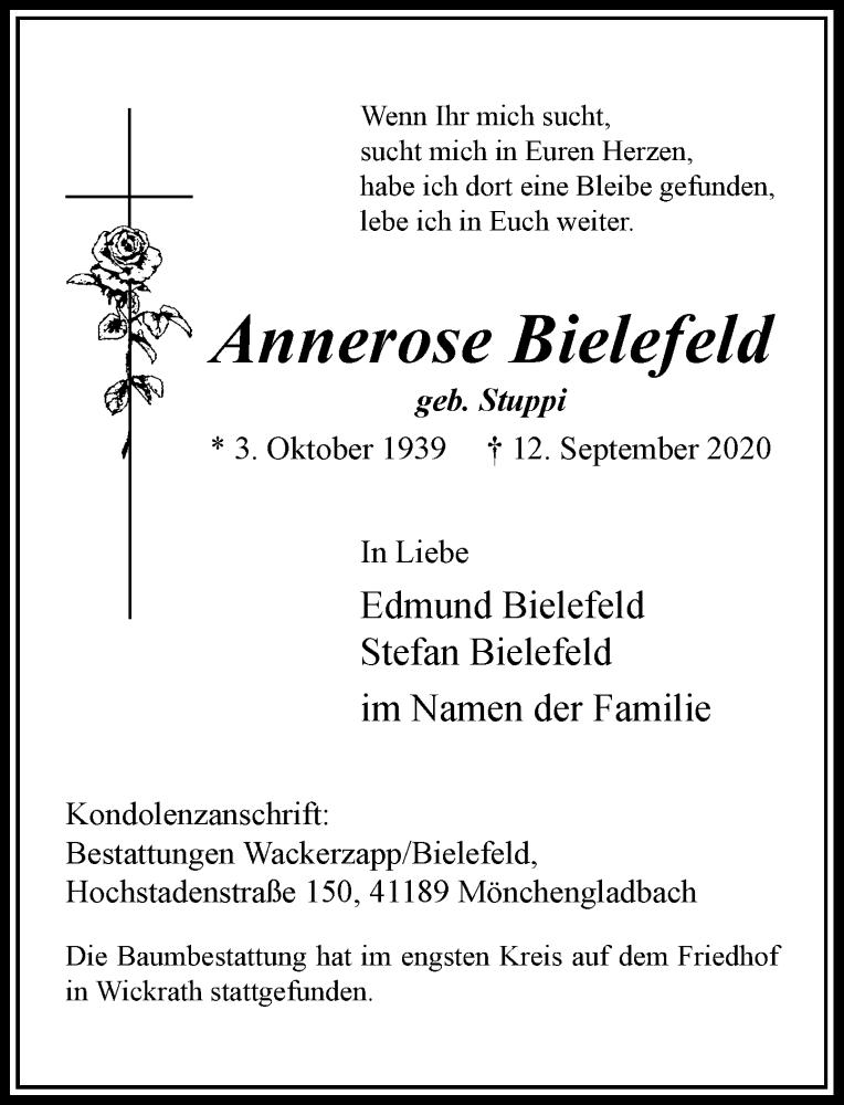 Traueranzeige für Annerose Bielefeld vom 26.09.2020 aus Rheinische Post