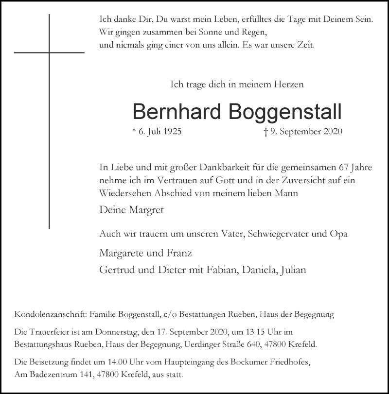 Traueranzeige für Bernhard Boggenstall vom 12.09.2020 aus Rheinische Post