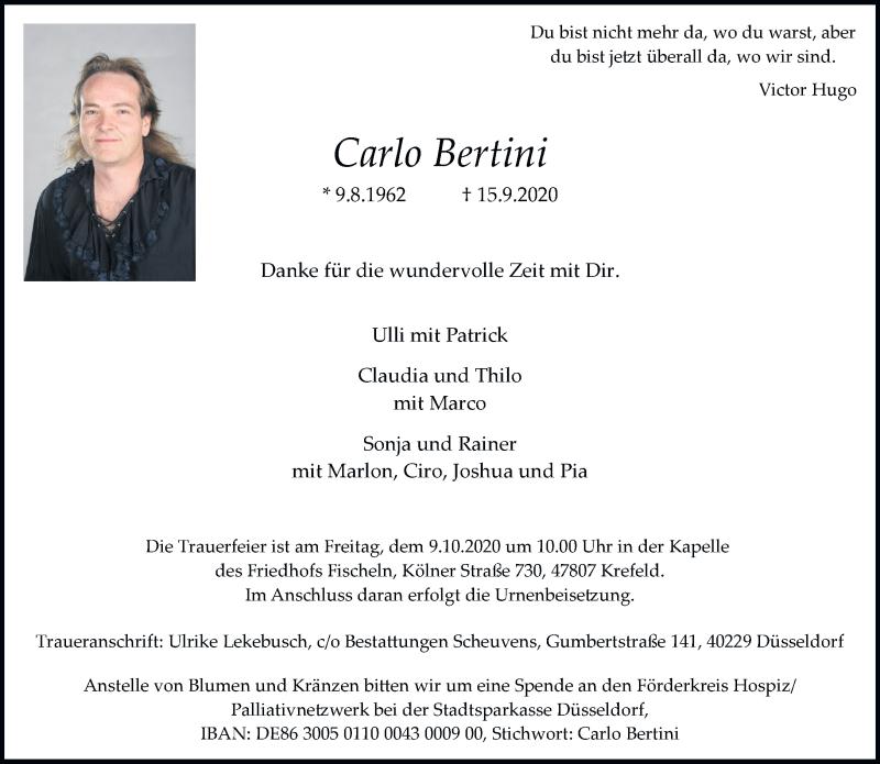Traueranzeige für Carlo Bertini vom 26.09.2020 aus Rheinische Post