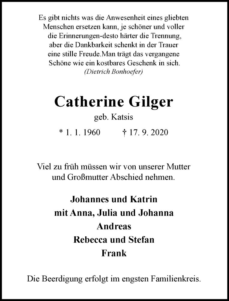 Traueranzeige für Catherine Gilger vom 23.09.2020 aus Rheinische Post