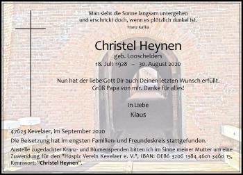 Traueranzeige von Christel Heynen von Rheinische Post