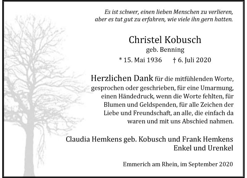 Traueranzeige für Christel Kobusch vom 05.09.2020 aus Rheinische Post