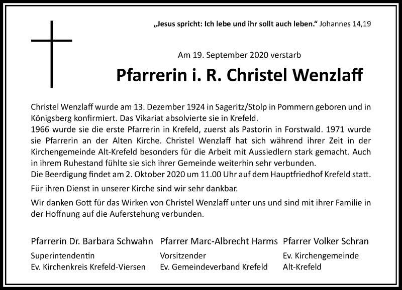 Traueranzeige für Christel Wenzlaff vom 26.09.2020 aus Rheinische Post