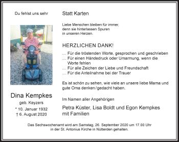 Traueranzeige von Dina Kempkes von Rheinische Post